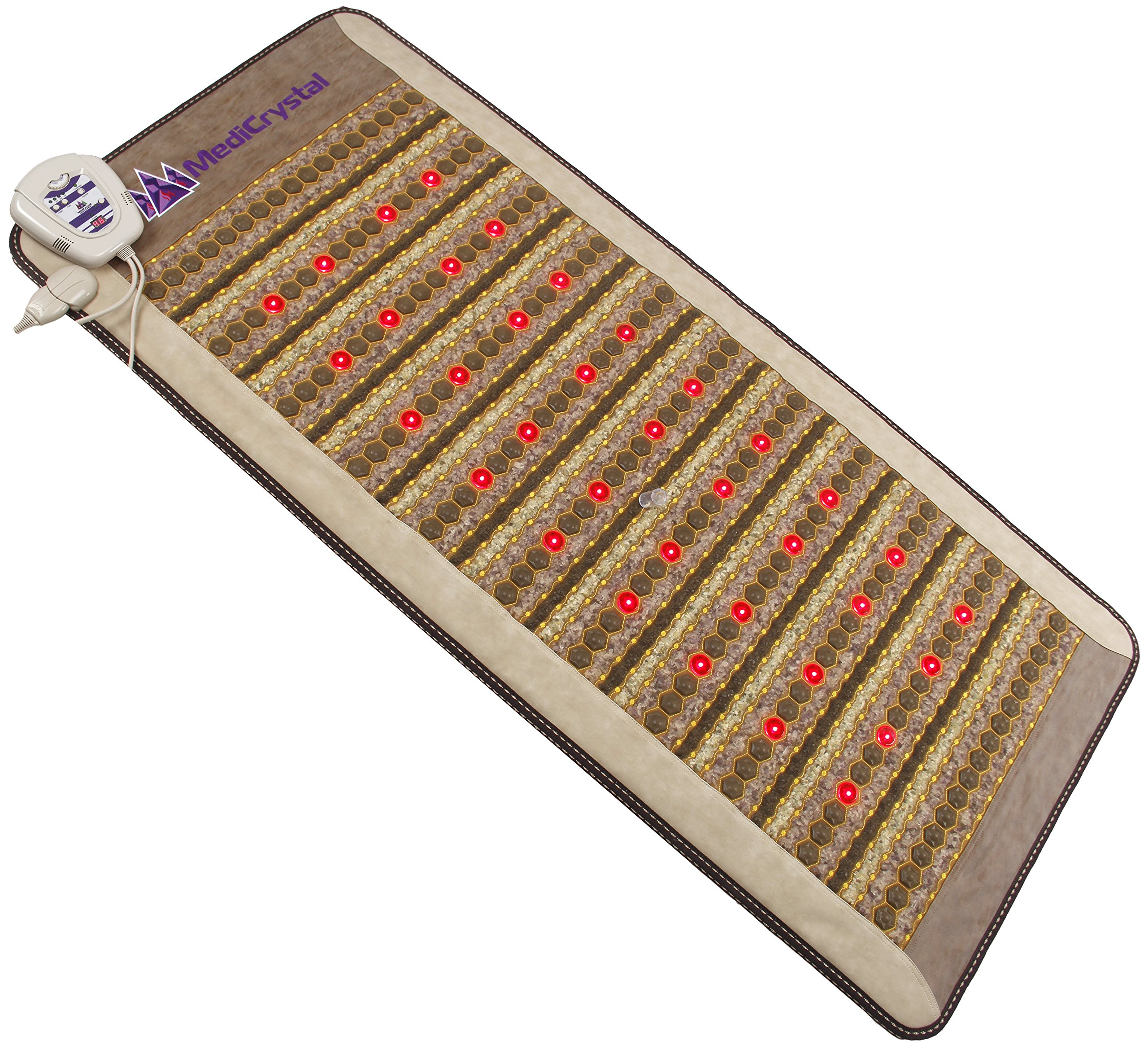 """Amethyst Jade Tourmaline FIR PEMF Photon Mat - Professional 71""""L x 32""""W - Adjustable 86-158F Far InfraRed Heating -Bio Stimulation Red Light - Ion- Pulsed Magnetic Therapy -FDA Registered Manufacturer"""