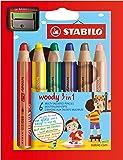 STABILO woody 3in1 - Étui carton de 6 crayons tout-terrain + taille-crayon