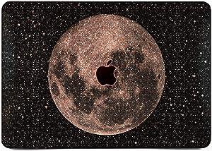 "Cavka Hard Glitter Case for Apple MacBook Pro 13"" 2019 Retina 15"" Mac Air 11"" Mac 12"" Bling Minimal Night Silver Shiny Full Moon Print Sparkly Space Planet Cover Glossy Design Black Stars Rose Gold"