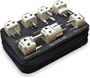 OREI 7 World Travel Adapter Plug Set Safe Grounded for Europe, Germany, Italy, S. Africa, China, Australia, UK, India and More