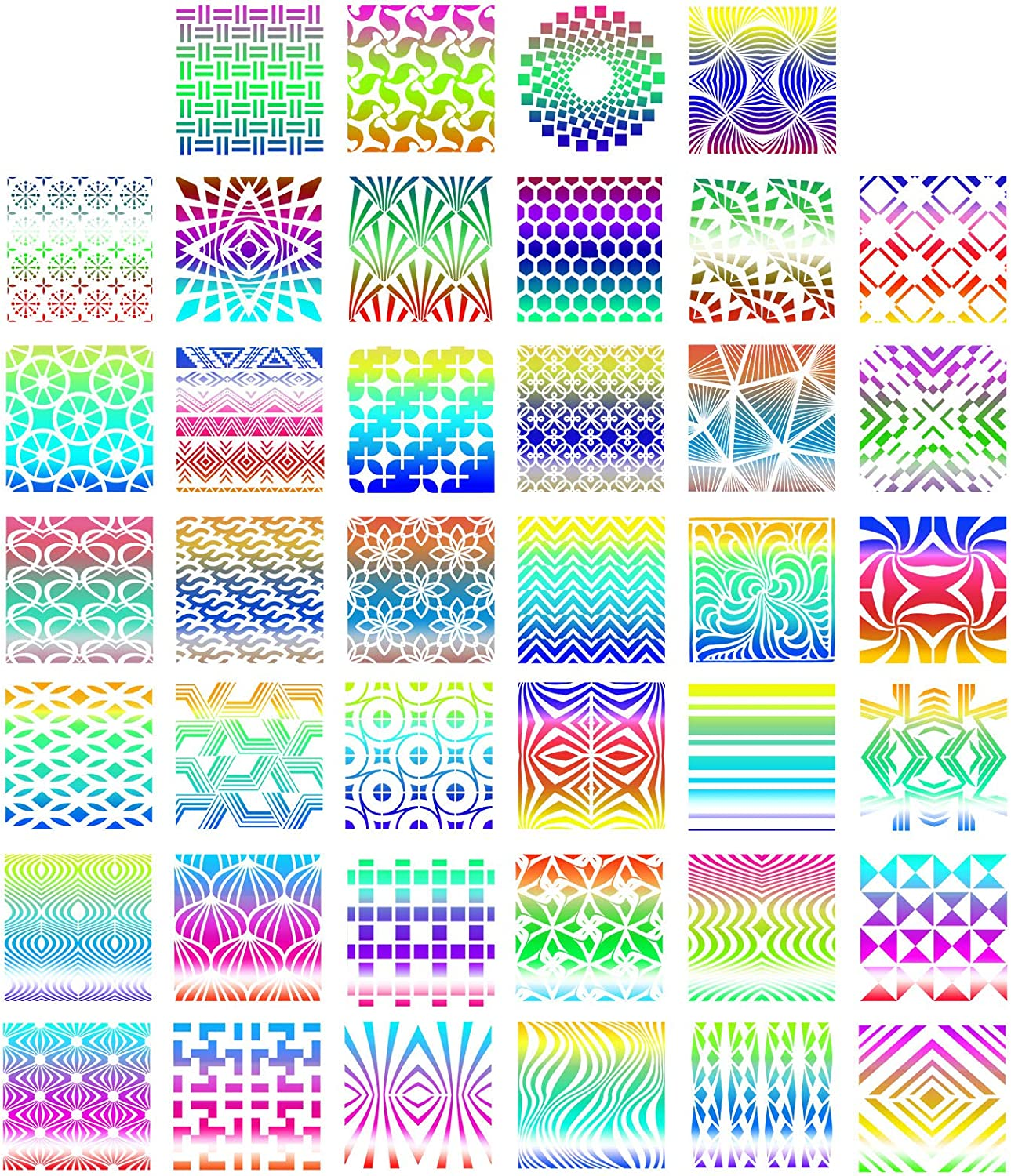 5.1 x 5.1inch 40 Pieces Geometric Stencils Painting Templates for Scrapbooking Cookie Tile Furniture Wall Floor Decor Craft Drawing Tracing DIY Art Supplies