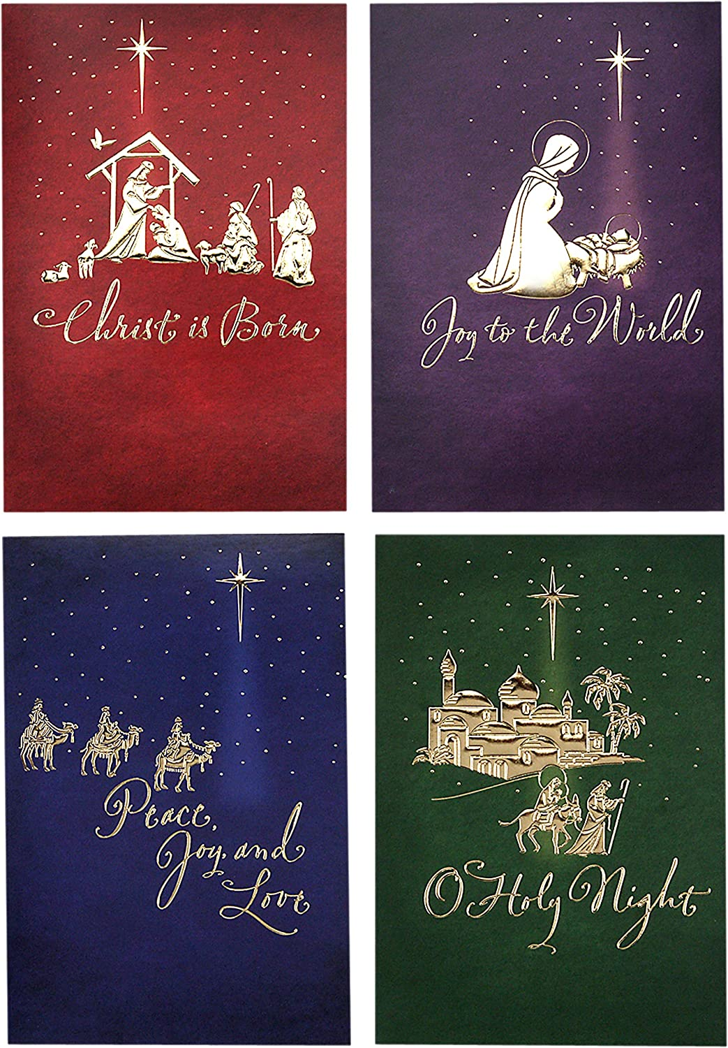 Image Arts Religious Boxed Christmas Cards Assortment 4 Designs 24 Christmas Cards With Envelopes Office Products