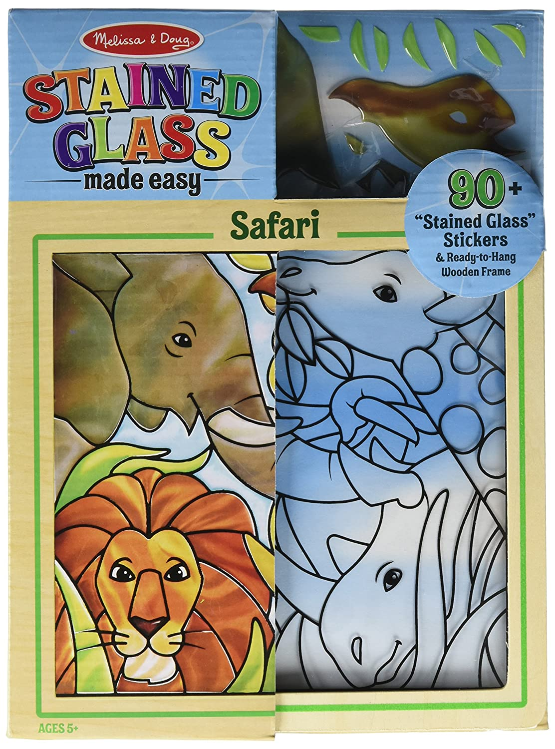 Melissa Doug Stained Glass Made Easy Activity Kit Safari 90 Stickers Wooden Frame