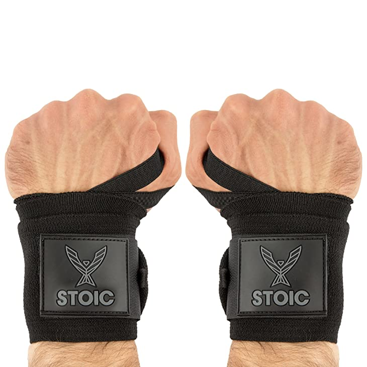 Wrist Wraps (Professional Quality) by Stoic: Powerlifting, Bodybuilding, Weight Lifting Wrist Supports for Weight Training