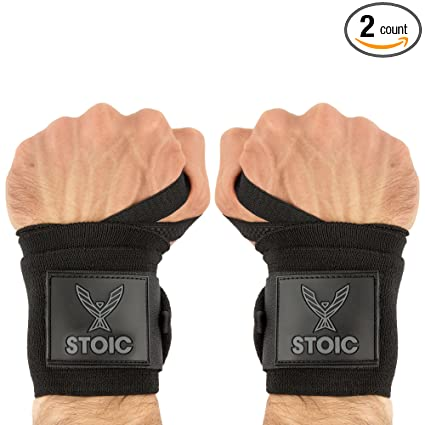 Evolutionize Medium Stiff Wrist Wraps, 18 Inch - Black