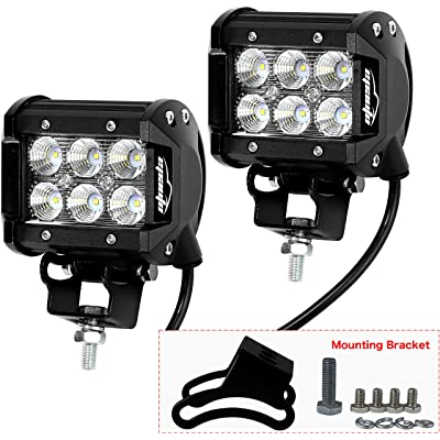 "2 Pack - EPAuto 4"" 18W 1260lm Cree LED Light Bar Flood Beam Waterproof Mount for SUV/Boat/Jeep/Van/ATV/SUV/Offroad: Automotive"