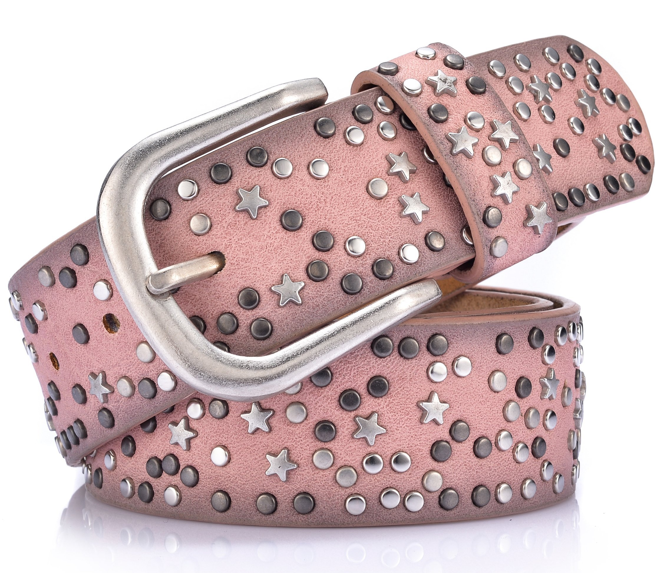 Ayli Women's Jean Belt, Stars Rivets Punk Rock Handcrafted Genuine Leather Belt, Free Gift Box, Pink, Fits Waist 31'' to 32'' (US Pants Size 10-12), bt6b507pk100