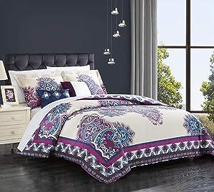 Chic Home 5 Piece Mazal Comforter Set, King, Purple