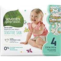 Seventh Generation Baby Diapers, Free & Clear for Sensitive Skin with Animal Prints, Size 4, 135 count (Packaging May Vary)