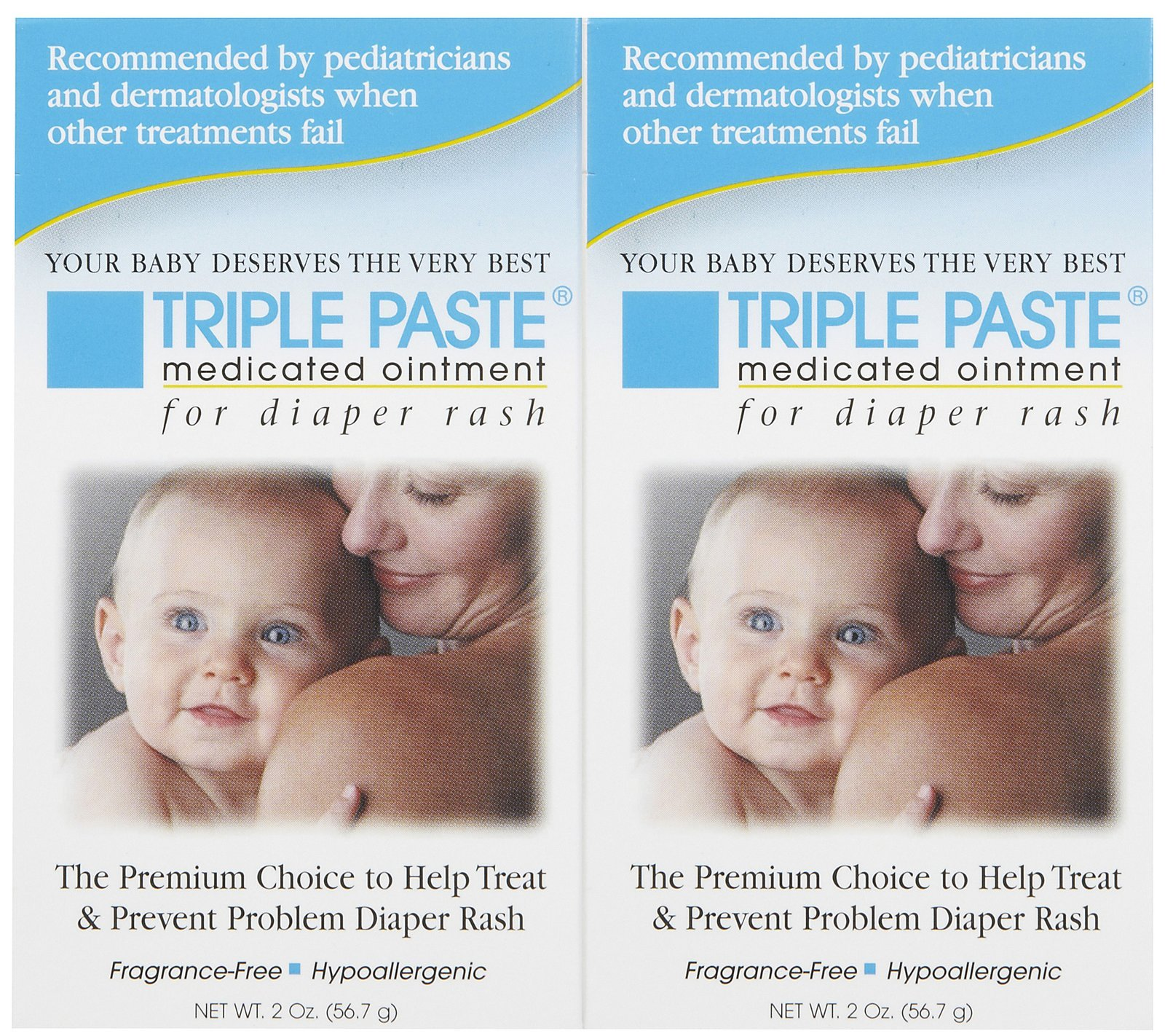 Triple Paste Medicated Ointment for Diaper Rash, Hypoallergenic - 2 oz (Pack of 1)