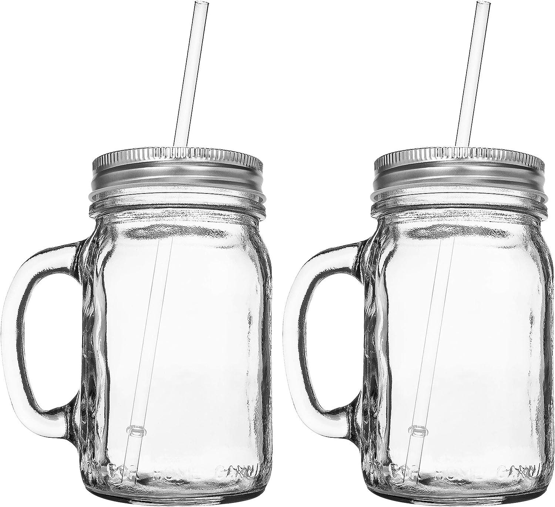 Lot 6 Clear Mason Jars Handles Lids Jelly Bridal Canning Jar Pint Wedding 20oz