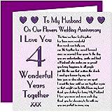 My Husband 4th Wedding Anniversary Card