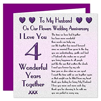 My Husband 4th Wedding Anniversary Card On Our Flowers Anniversary