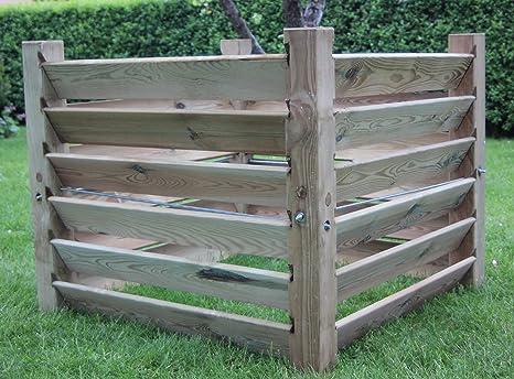 Compostador de madera (medidas: 100 x 100 x 80 cm, capacidad aprox ...