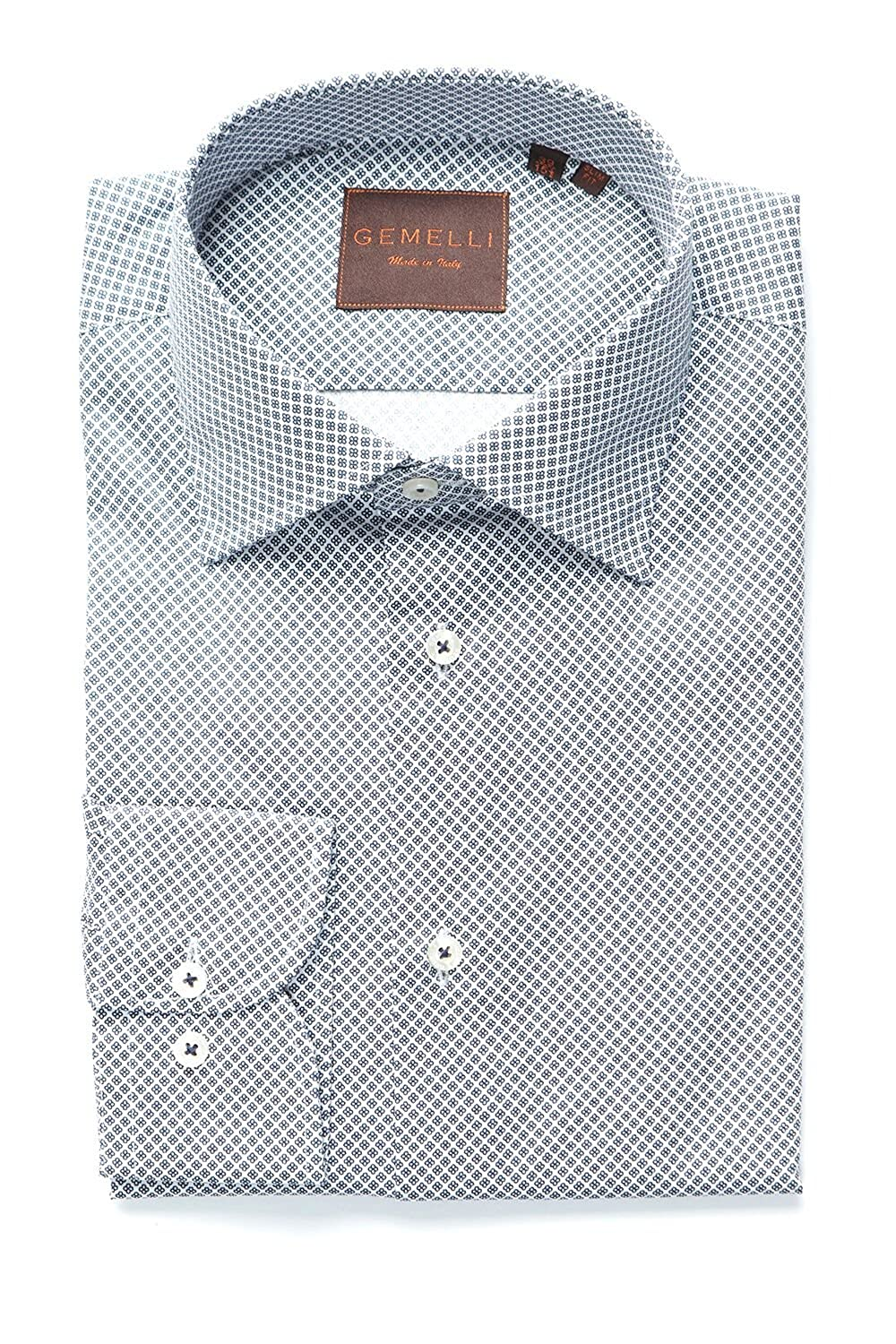 c45546e221f9 Mens Dress Shirt Slim Fit Made in Italy. 100% Cotton. Long Sleeve Navy and  White Mini Floral Geometric Shirt at Amazon Men s Clothing store