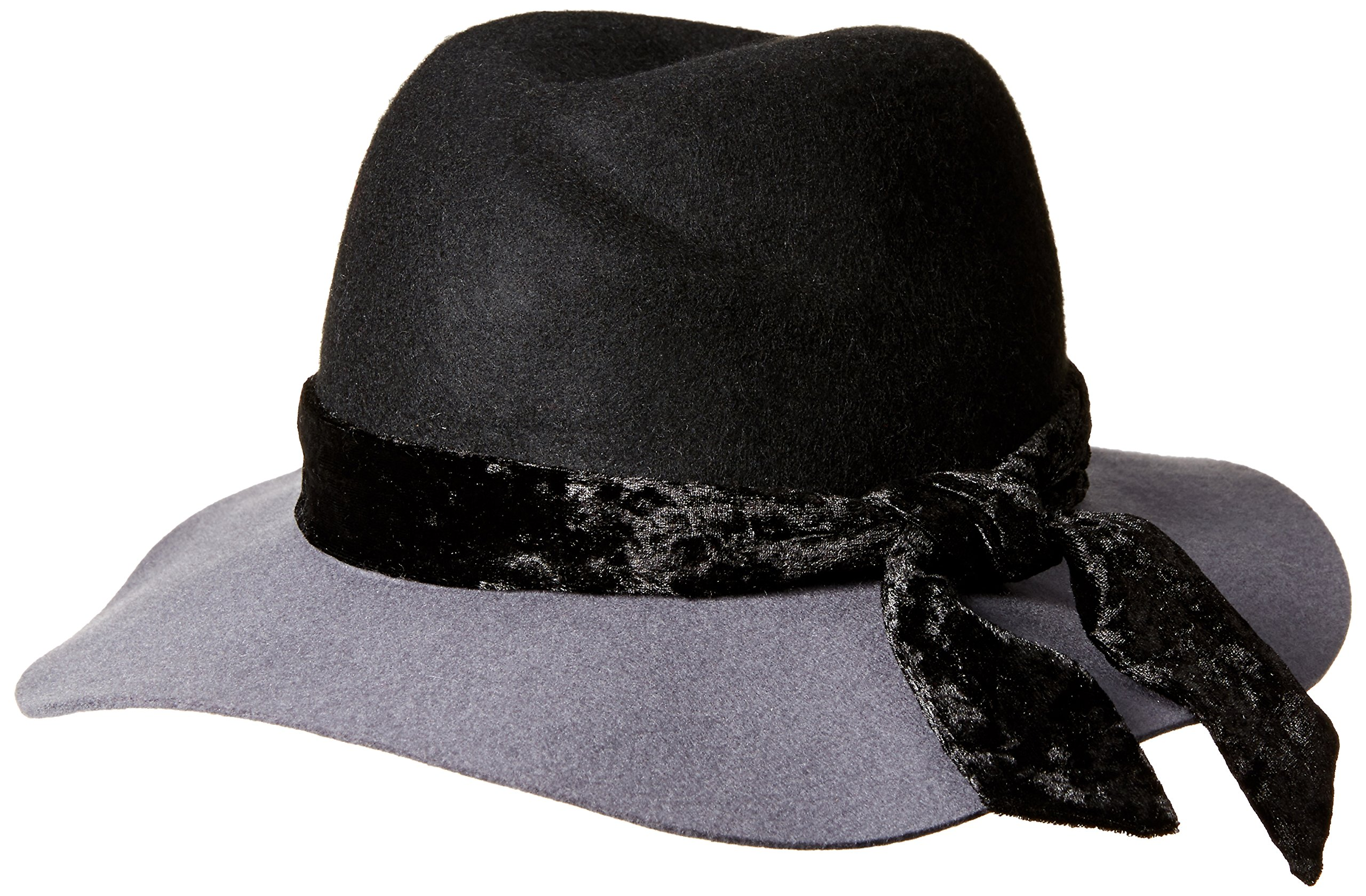 Orchid Row Women's Fashion Wranger Hat with Velvet Band Grey/Black O/S