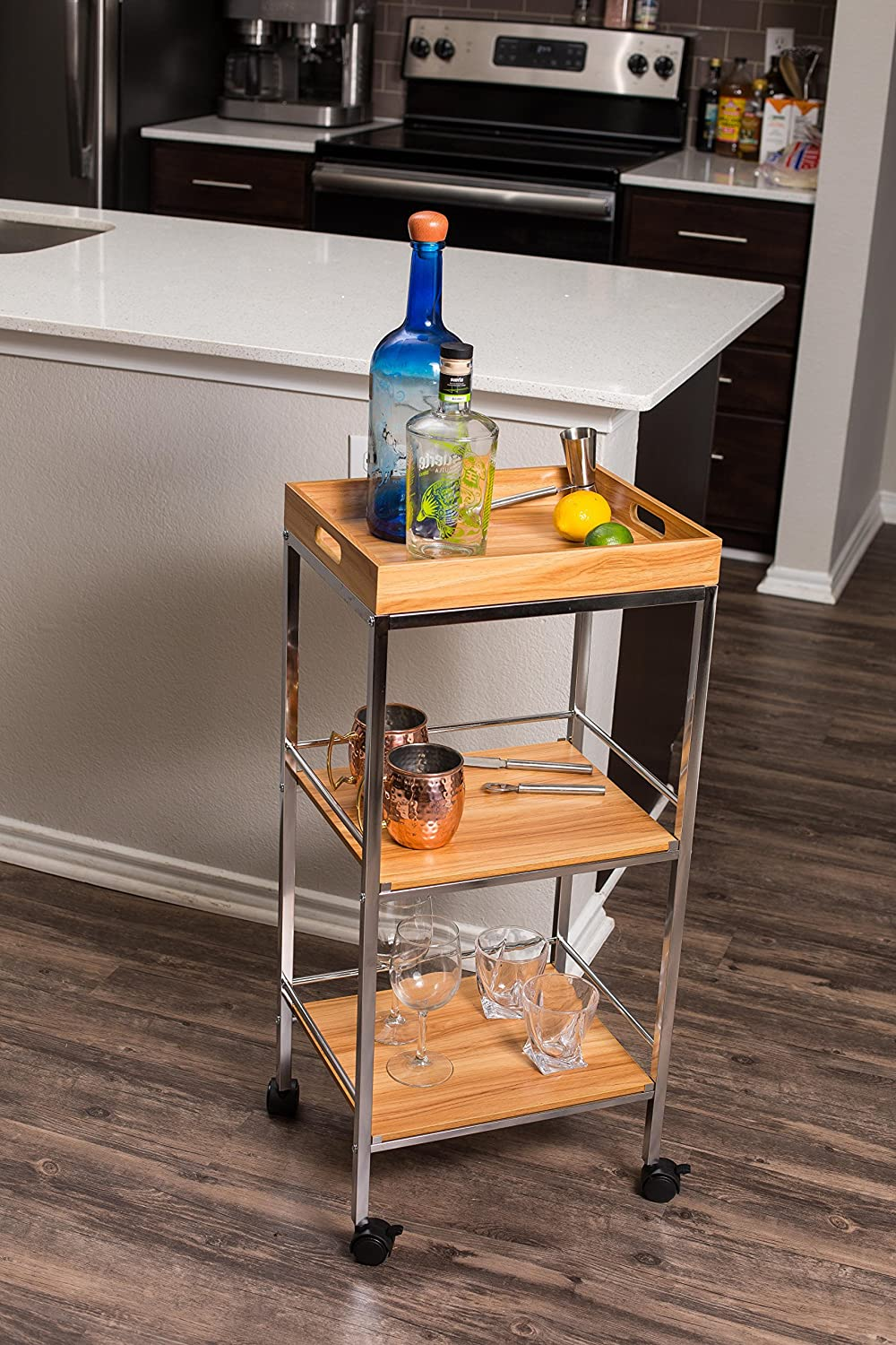BIRDROCK HOME 3-Tier Rolling Bar Serving Cart Kitchen Bathroom Trolley with Locking Wheels Removable Trays Portable Metal Utility Storage Tea Coffee Drink Home Cart