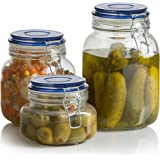 Klikel Square Glass Kitchen Storage Canister Jars - Crystal Clear Food Storage Jars With Blue Lid And Bail & Trigger Hermetic Seal - 48oz, (set of 2)