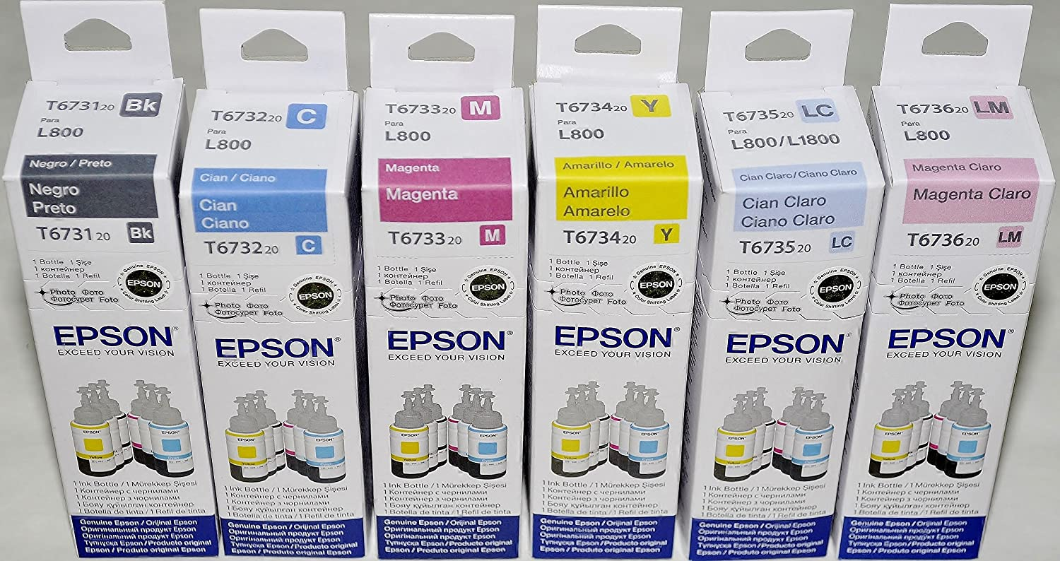Epson T673 6 Color Refill Ink Set For L800 L1800 Tinta T6731 Genuine Manufacturer Office Products
