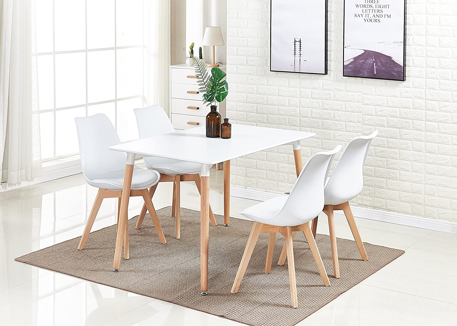 P N Homewares Lorenzo Dining Table And 4 Chairs Set Retro And Modern Dining Set White Black And Grey Chairs With White Dining Table White Chairs Amazon Co Uk Kitchen Home