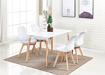 Pu0026N Homewares® Lorenzo Dining Table and 4 Chairs Set Retro and Modern Dining Set White & Pu0026N Homewares® Lorenzo Dining Table and 4 Chairs Set Retro and ...