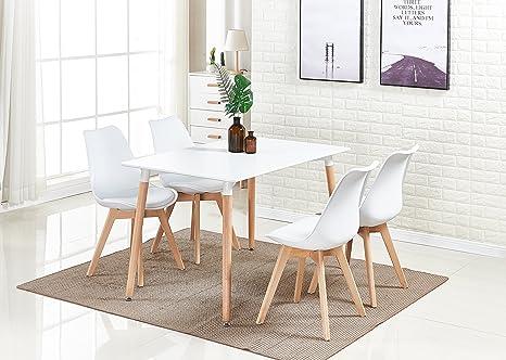 P & N Homewares® Lorenzo Esstisch und 4 Stühle Set Retro und Modern Dining  Set Weiß Schwarz und Grau Stühle mit weißen Esstisch skandinavisch (Weisse  ...