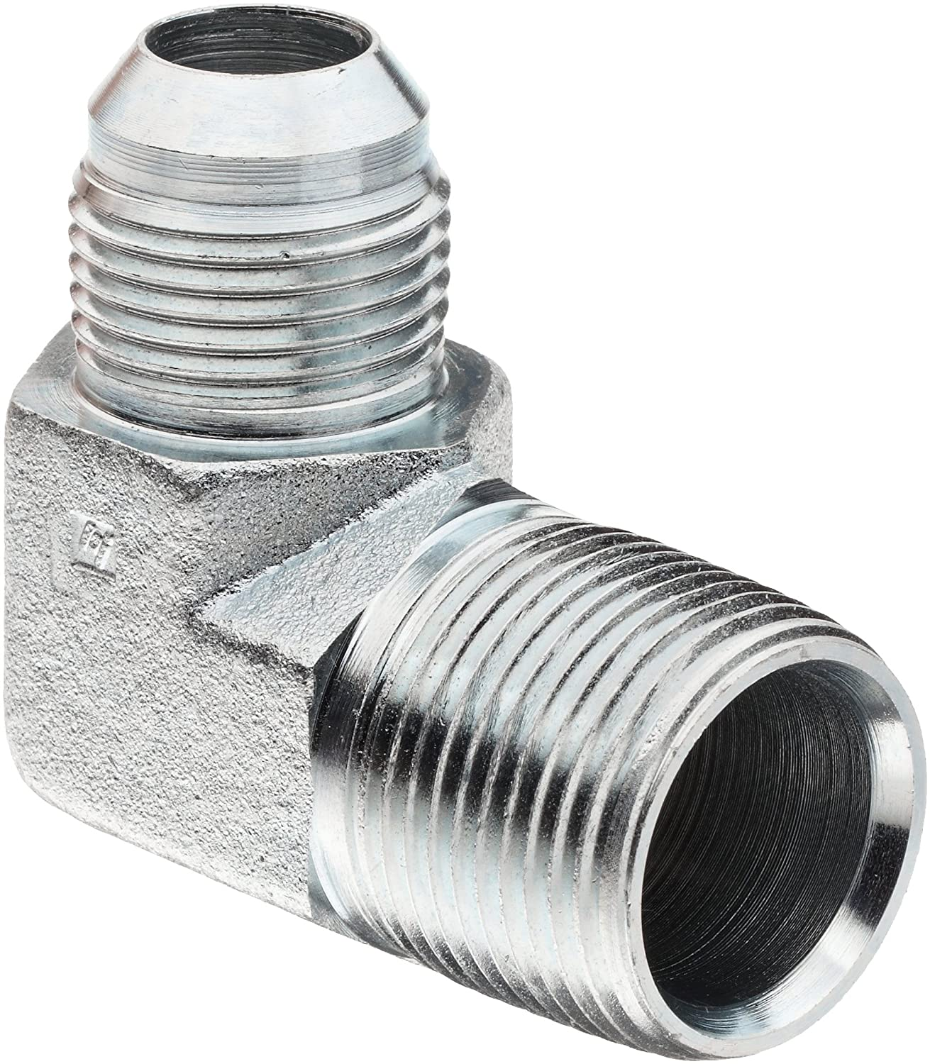 "Brennan 2501-06-06-FG Forged Steel JIC Flared Tube Fitting, 90 Degree Elbow Forgeded, 3/8"" Tube OD JIC Male x 3/8-18 NPTF Male"