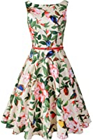 Chicanary Women's Floral 1950s Rockabilly Cotton Vintage Dress