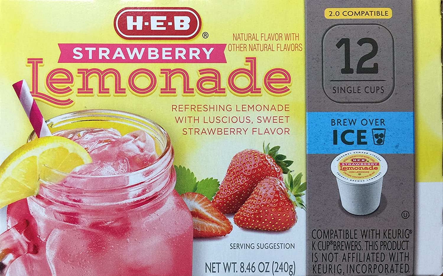 Brew Over Ice, Strawberry Lemonade Single Serve Cups - 12 count
