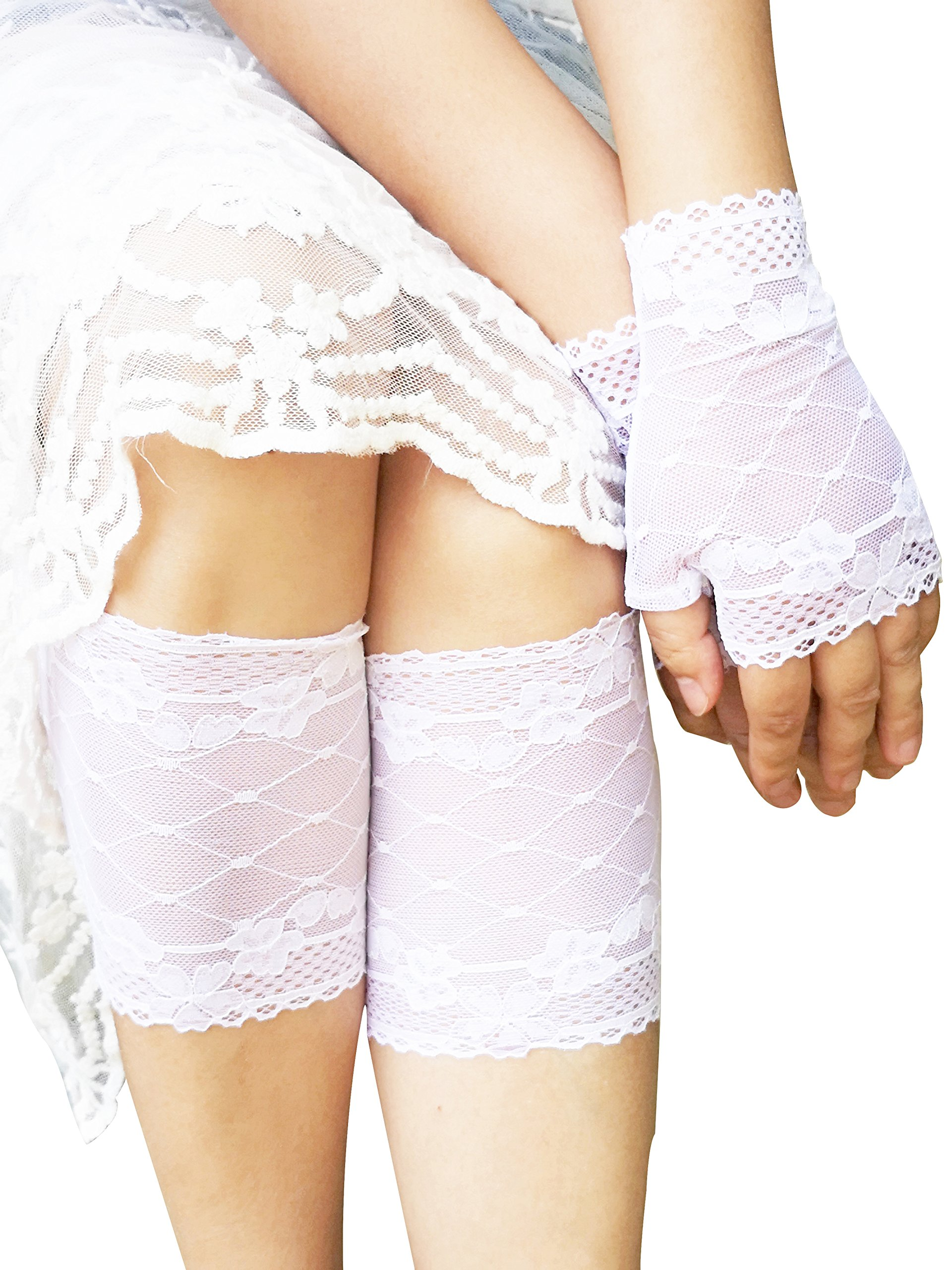 YuRong Lace Boot Cuffs Toppers Lace Socks and Lace Gloves E01 (White)