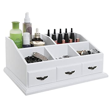 MyGift Chic White Wood Cosmetics Storage Box / Vanity & Dresser Top Makeup  Organizer Rack