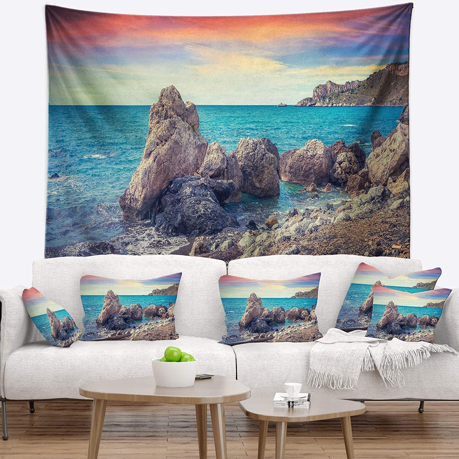in Designart TAP9057-60-50  Sunrise in Spring Panorama Seashore Photo Blanket D/écor Art for Home and Office Wall Tapestry Large 60 in x 50 in