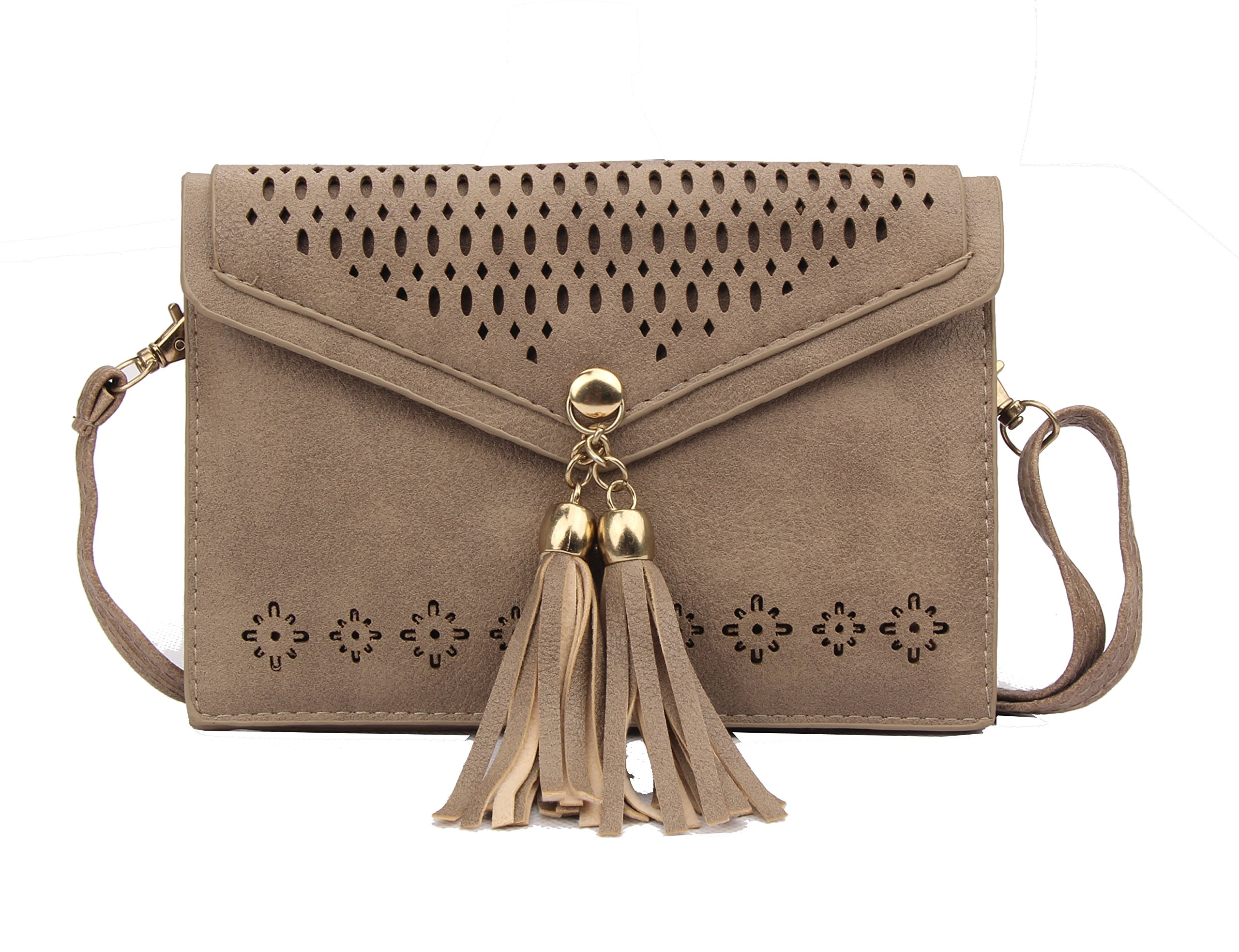Small Crossbody Bag Tassel Phone Purse for Women Teen Girls with Double Compartments
