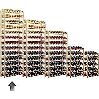 Cantinetta / scaffale per vino SIMPLEX modello 5, per 91 bottiglie, legno naturale - A 198 x L 72 x P 25 cm