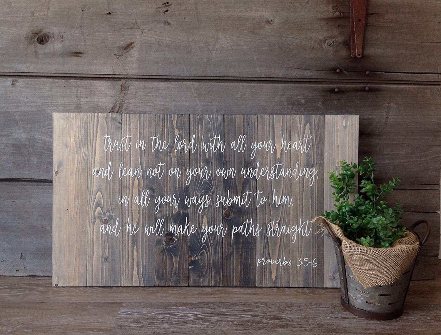 43LenaJon Trust in The Lord with All Your Heart and Lean not on Your own Understanding in All Ways Sign,Hanging Wooden Label for Garden Decor