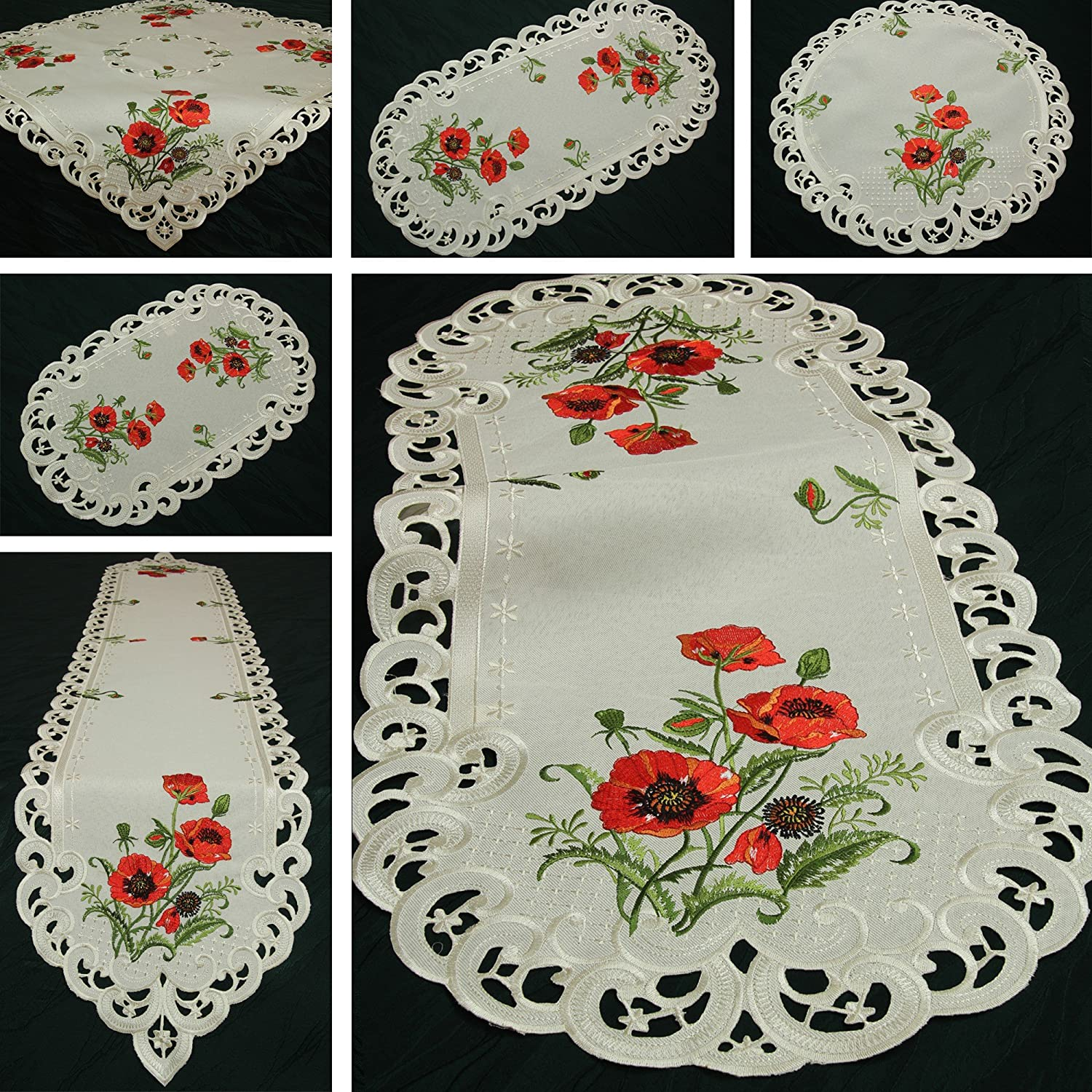 Quinnyshop Coquelicot rouge Broderie Napperon 20 cm Rond Polyester, Crème