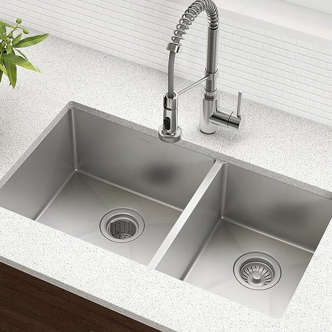 Kraus Standart Pro 33 Inch 16 Gauge Undermount 60 40 Double Bowl Stainless Steel Kitchen Sink Amazon Ca Tools Home Improvement