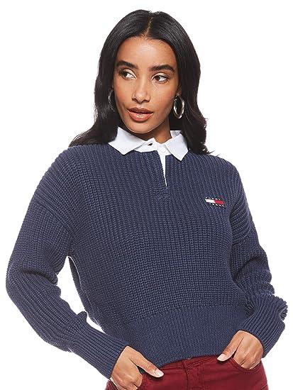 Tommy Jeans – Jersey de Mujer Azul con Cuello Polo: Amazon.es ...