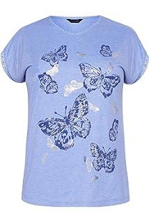 c7c4f45379f421 Yours Clothing Women's Plus Size Blue Marl Butterfly Crochet T-Shirt