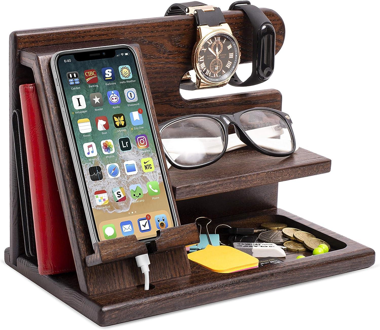 Soporte de madera para teléfono móvil organizador de escritorio de roble soporte para tableta llave moneda soporte para reloj hecho a mano regalo de graduación para hombres aniversario de marido
