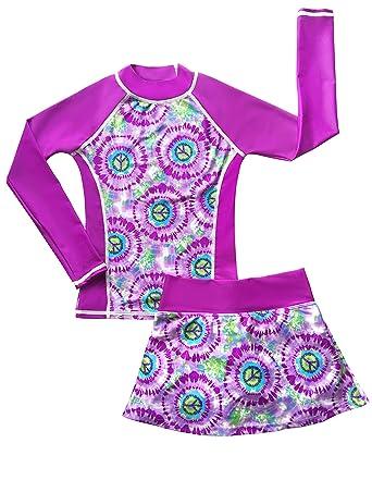 c23a194c6c grUVywear Girls Rash Guard Long Sleeve Swim Skirt Set Sun Protective UPF 50  - Hippy Peace
