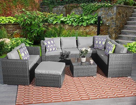 YAKOE - Juego de Muebles de jardín clásicos de 9 plazas de ratán esquinero para sofá, Mesa y Patio, Color Gris: Amazon.es: Jardín
