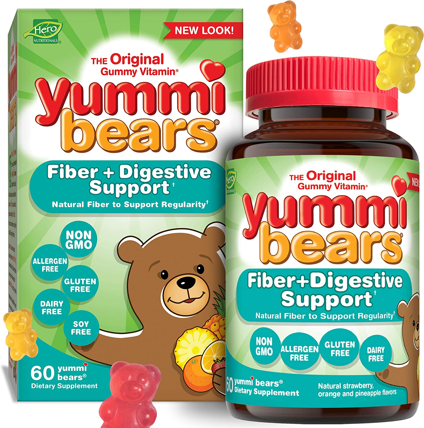 Yummi Bears Digestive Health Natural Fiber Supplement Gummy Vitamins for Kids, 60 Count (Pack of 1)