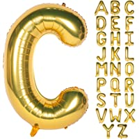 "Letter Balloons 40 Inch Giant Jumbo Helium Foil Mylar for Party Decorations Gold (40"" C, 40"" Gold)"
