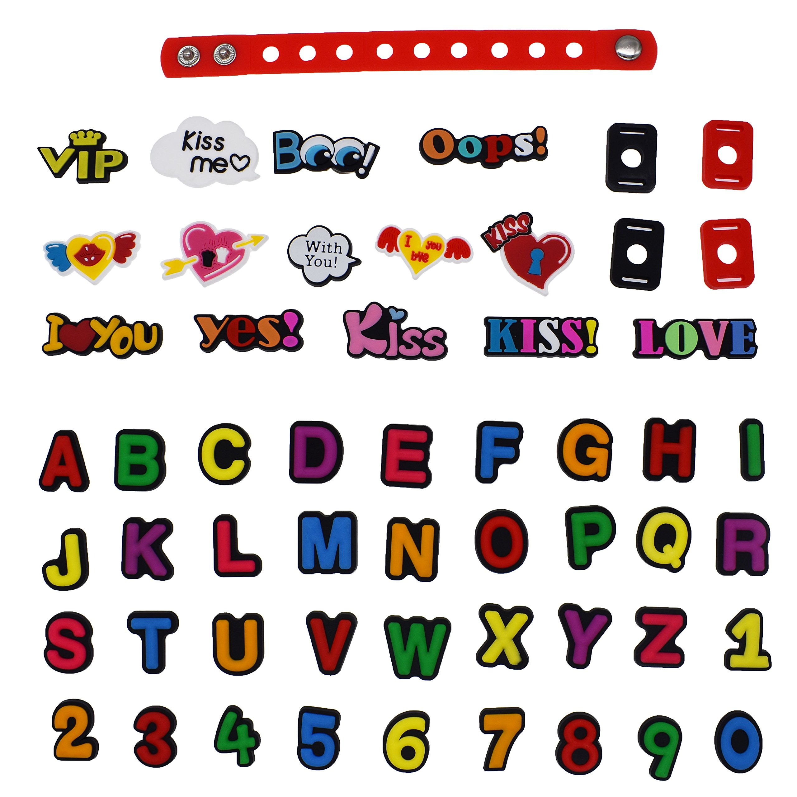 XHAOYEAHX Pack of 50 Shoe Charms of Letters Alphabet Numbers Love Kiss Words Fits for Croc Shoes & Wristband Bracelet + 4Pcs Shoe Lace Adapter + 1Pcs 7.08in Silicone Bracelet Bands
