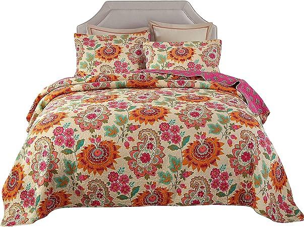Unimall Colcha Bouti cama 135 0 140, 1*Colcha de 230*250 cm y 2 Fundas de Almohada 50*70 cm(100% de Algodón), modelo reversible: Amazon.es: Hogar