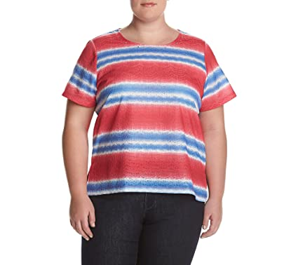 c5ea8f7ba0cd1 Alfred Dunner Plus Size Stripe Lace Top at Amazon Women s Clothing ...