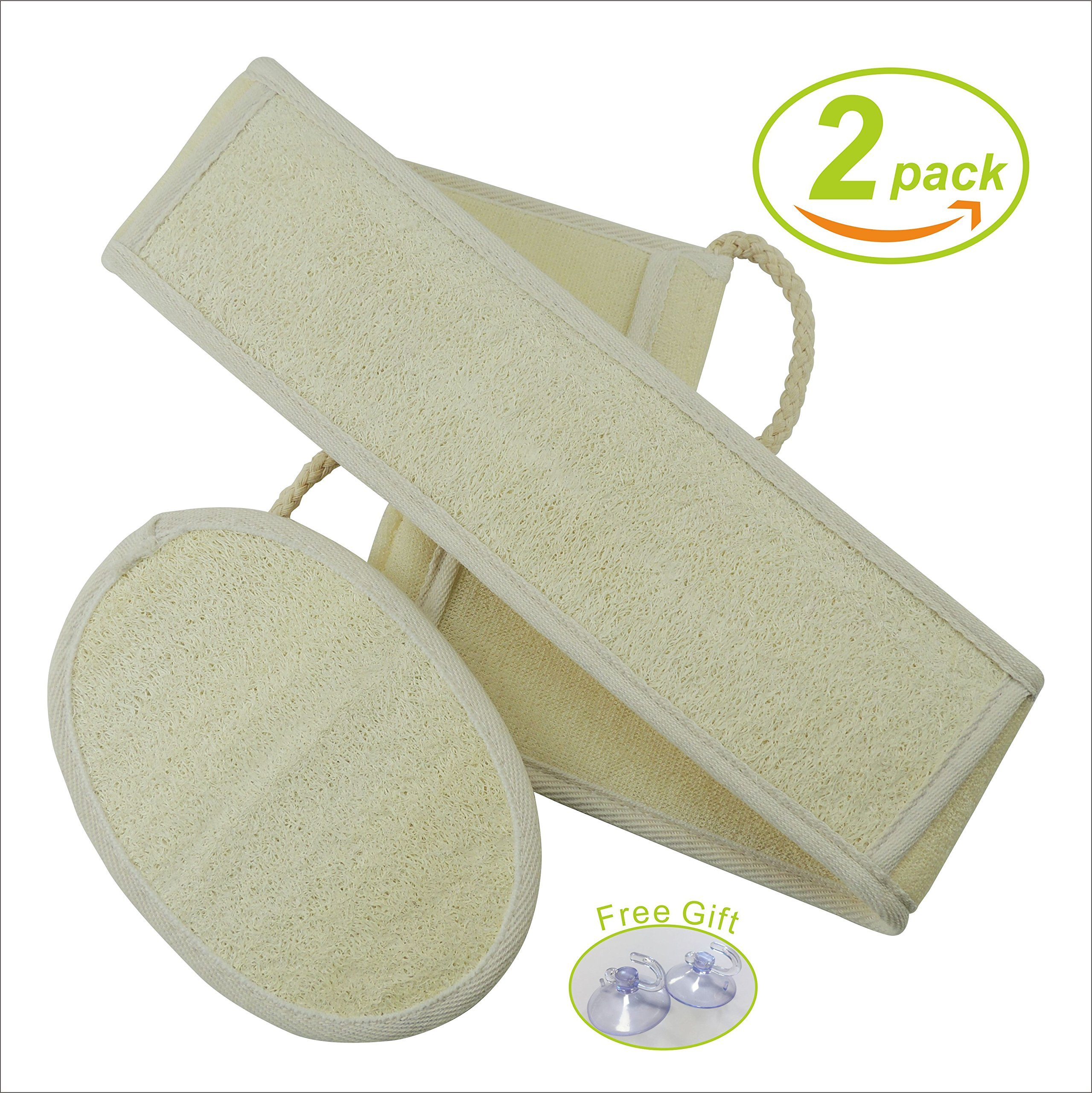 Loofah Sponge Pads, Sazet Natural Back Scrubber, Luffa Body Brushes,Exfoliating,Perfect for Bath or Kitchen, Large 26X3'' Pack 2