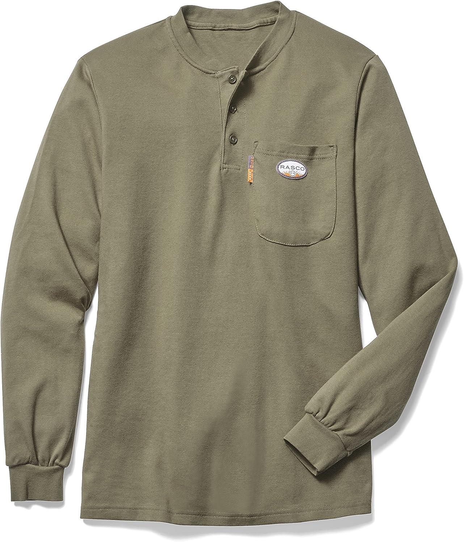 Rasco FR Mens Khaki Flame Resistant FR Henley Shirt