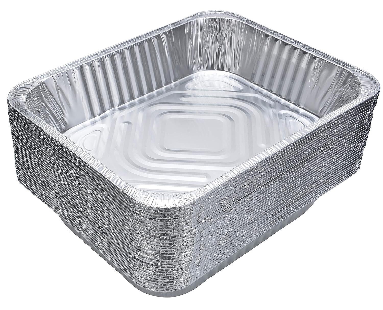 """DOBI Aluminum Pans (30-Pack) - Disposable Aluminum Foil Steam Table Deep Pans, Half Size Chafing Pans - 12 1/2"""" x 10 1/4"""" x 2 1/2"""""""